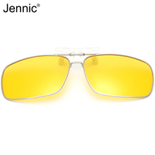 Jennic Men Polarized Clip On Sunglasses Auti-Glare Rectangle Unisex Sliver Frame Silicone Clip Night Driving Vision Lens