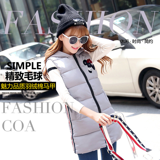Gilet Chalecos Mujer Mujer Women Vest 2016 Novelty Solid 3d New Korean Slim In The Long Hooded Down Factory Direct Supply