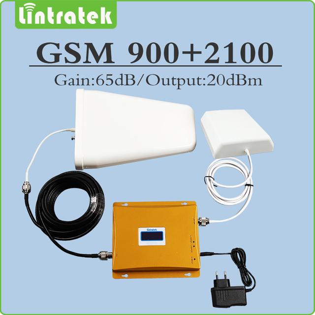 Doble banda Móvil señal repetidor 2g 3g EDGE/HSPA 900 Mhz 2100 Mhz GSM WCDMA UMTS amplificador de señal juego completo con Antena y cable