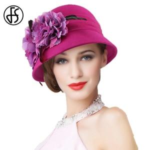 Image 3 - FS Wedding Hat For Women Elegant Pink Fedoras Flowers Wide Brim Wool Felt Vintage Ladies Cloche Hats Bowler Derby Hats