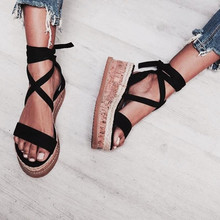 dd1dd6869 Women Summer Shoes Sandals Ankle Strap Thick-Bottom Shoes Ladies Roman  Lace-up Shoes