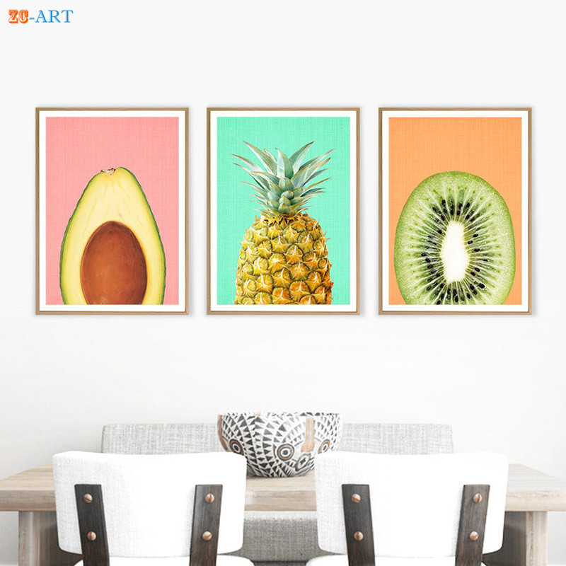 US $4 32 28% OFF|Avocado Kiwi Fruit Pineapple Prints Kitchen Wall Art  Tropical Fruit Decor Modern Minimalist Canvas Painting Kids Room Framed-in
