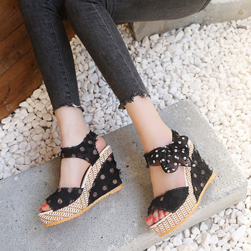 HTB1yhghXRWD3KVjSZKPq6yp7FXac Women Sandals Dot Bowknot Design Platform Wedge Female Casual High Increas Shoes Ladies Fashion Ankle Strap Open Toe Sandals
