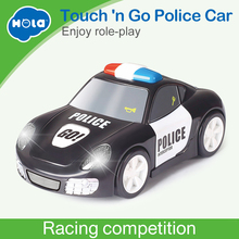 Купить с кэшбэком HUILE TOYS 6106A Baby Toys Rapid Police Model Car with Touchable Function Pull Back Cars Toys for Children 2 Color