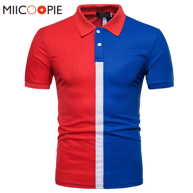 2018 Men Brand   Polo   Shirt Cotton Stitching Colors Short Sleeve Shirt Jerseys Golftennis Stand Collar Top Tee Camisas   Polo