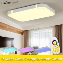 New Colorful Modern Led Ceiling Lights For Home Decorative RGB Light Fixture Indoor Lighting lampshade With Remote Control(China)
