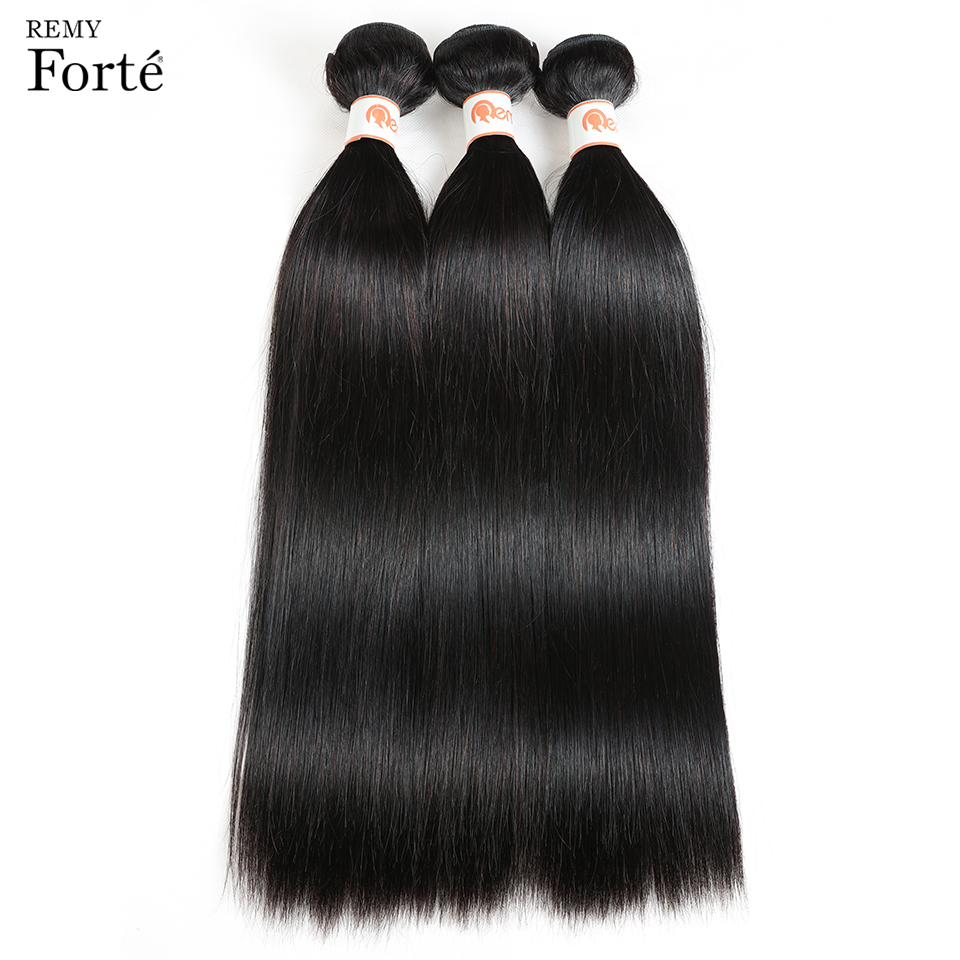 HTB1yhgrX21H3KVjSZFBq6zSMXXab Remy Forte Straight Hair Bundles With Closure Non Remy 8-30 Inch Hair Brazilian Hair Weave Bundles 3/4 Bundles With Closure