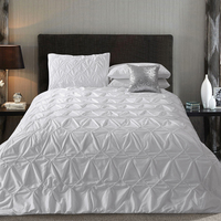 Embroidered Bedding Four Piece Set Solid Color Cotton 100 Double Embroidery Duvet Cover 100 Cotton