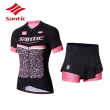 2018 Santic Cycling Jersey Set Women Summer Cycling Clothing Quick Dry Pro Bike Bicycle Clothes Suit Ropa Ciclismo S-XL