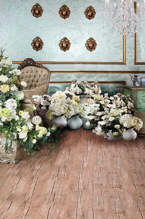 LIFE MAGIC BOX Photographic Background Vintage Photography Backdrops Fabric Wooden Floor Round Couch Flowerpot