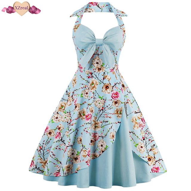 bc9a041c51 New Pin Up Print Evening Party Dress Women Summer Retro Rockabilly Dress  Sexy Backless Patchwork Bow Swing Cotton Robe Z3D37