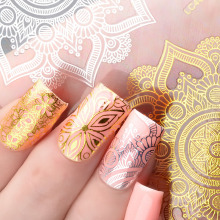 1 Sheet Lace Metal 3d Nail Sticker Decorations Gold Silver Hollow Embossed Adhesive Art Decal DIY Beauty Manicure Tools