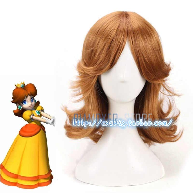 Biamoxer New Super Mario Princess Daisy Wig Brown Hair Halloween