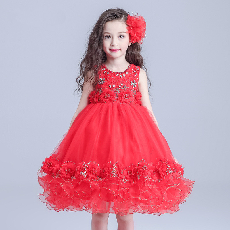 Ball Girls Dress Elegant Christmas Frock Red Vestidos Elegantes De Gala 2018 Girl Clothes 4 6 8 10 12 14 Years Old RKF184004 платье frock and frill frock and frill fr055ewdlds8