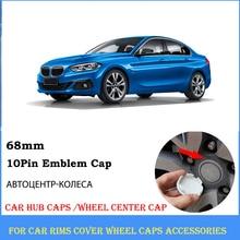 4pcs Blue with White 68mm Car Wheel Center Cap 10 Pin Hubcaps E39 E90 E46 E53 E52 E60 E86 F34 F20 F10 E91 X3 X5 Hub Sticker