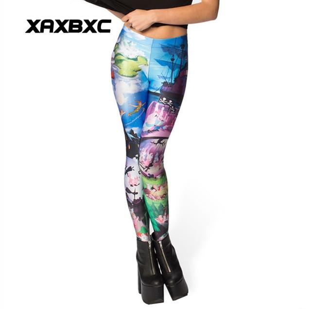 9513271772152 3512 Girl Cartoon Peter Pan Printed Elastic Slim GYM Fitness Women Sport  Leggings Yoga Pants Trousers Plus Size