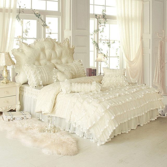 4/6/8pcs white pink Jacquard Satin bedding set king queen full twin Luxury Tribute Silk quilt/duvet cover bed linen bedclothes s