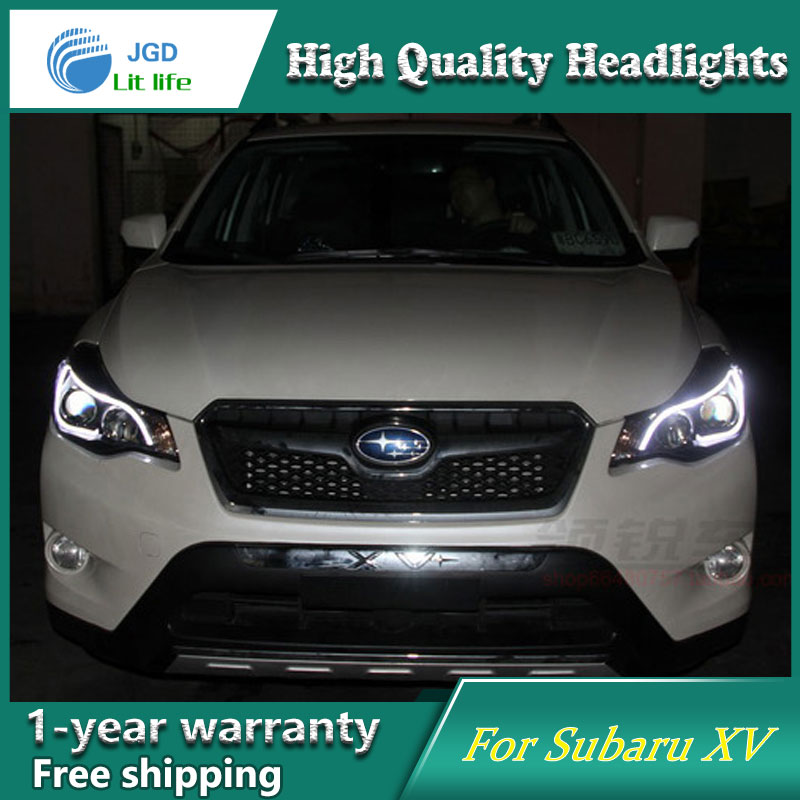 JGD Car Styling Head Lamp for Subaru XV Headlights 2011-2015 LED Headlight DRL H7 D2H Hid Option Angel Eye Bi Xenon Beam car styling for subaru xv led headlights 2012 2015 for xv head lamp angel eye led drl front light bi xenon lens xenon hid kit