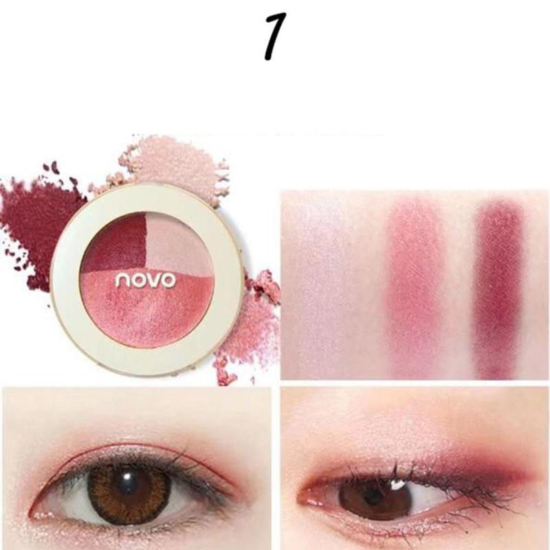 Novo 4g Mixed Matte Eyeshadow 3 Colors Brighten Eyes Pigment Contour Powder Orange Bronzer Eye Shadow Palette B3