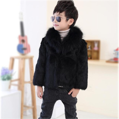 Furry winter coat for Boys faux fur coat for babies children Black teenage fur jackets Kids Fur Collar clothes Windbreaker F20