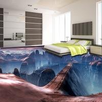 Custom Self Adhesive Floor Mural Wallpaper Modern Creative Game Scenes Bridge 3D Floor Tiles Wall Papers