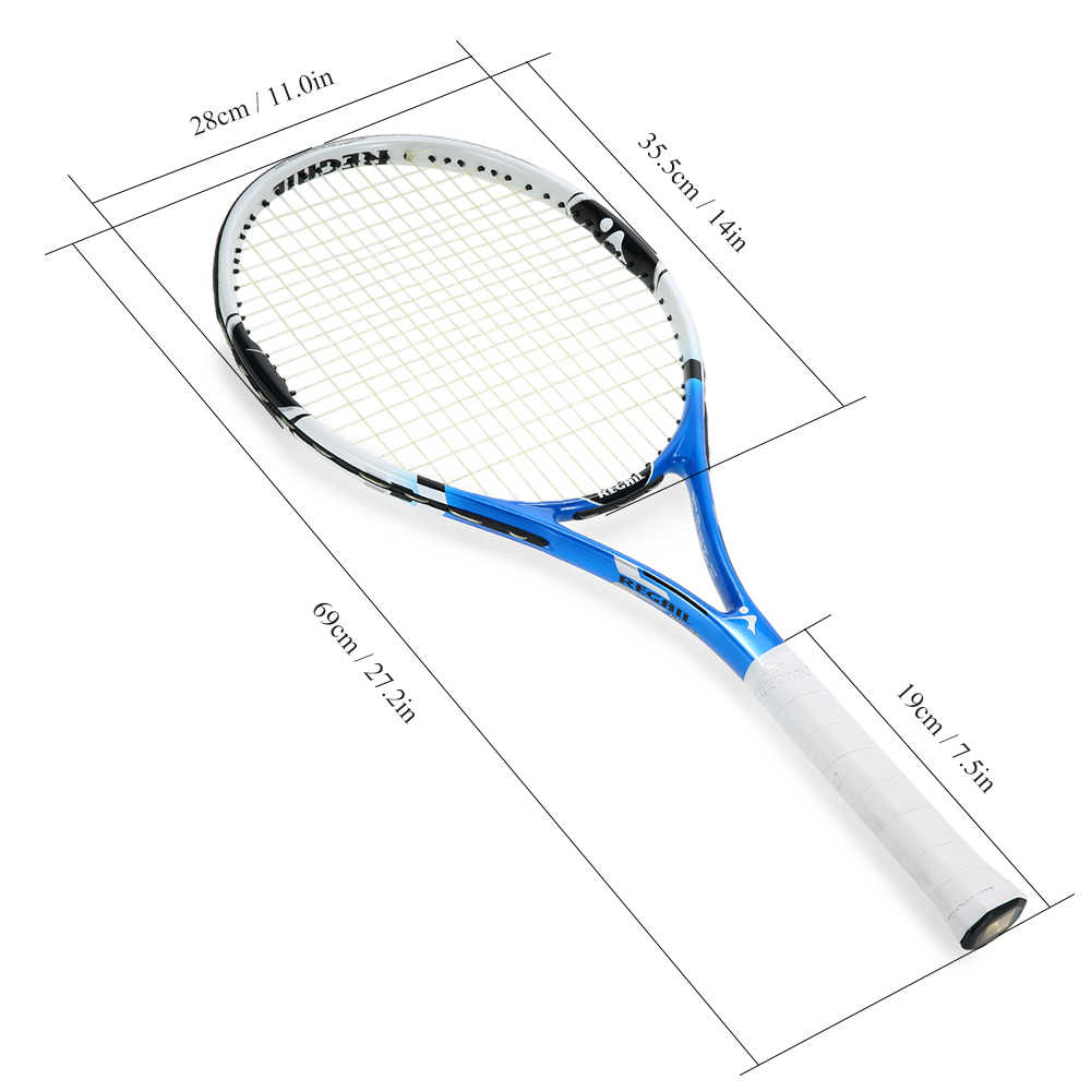 1Pc Carbon Tennis Racket Indoor Outdoor Practice Training Tennis Racquet with Cover Bag Sports Fitness Blue Tennis Racket
