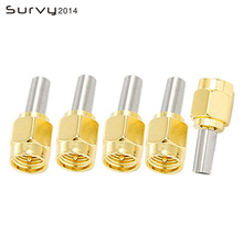 цена на 5Pcs RP SMA Male Plug Straight Goldplated RF Coax Connector Crimp for RG316 RG174 LMR100 Cable SMA Adapter