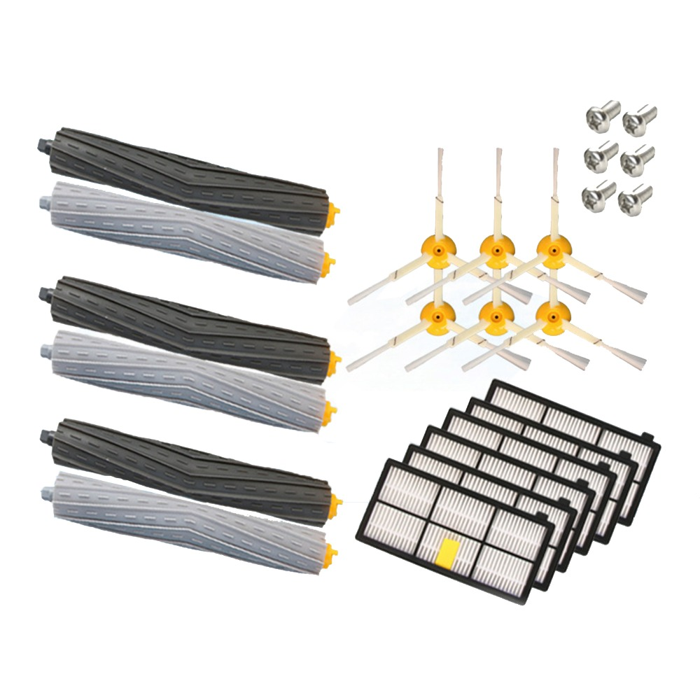 3 Rotating debris extractors+ 6 Hepa filter+6 side brush for iRobot Roomba 800 900 Series 870 880 980 Robotic Vacuum Accessories 14pcs free post new side brush filter 3 armed kit for irobot roomba vacuum 500 series clean tool flexible bristle beater brush