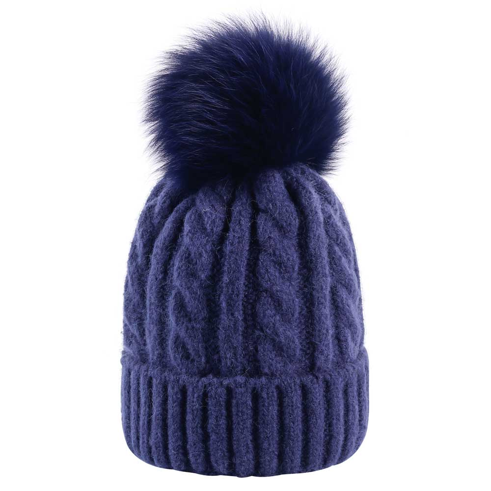 2018 Women Winter Fox Fur Pom Pom Beanie Hat Female Twist Crochet ... aaaa6fc5849