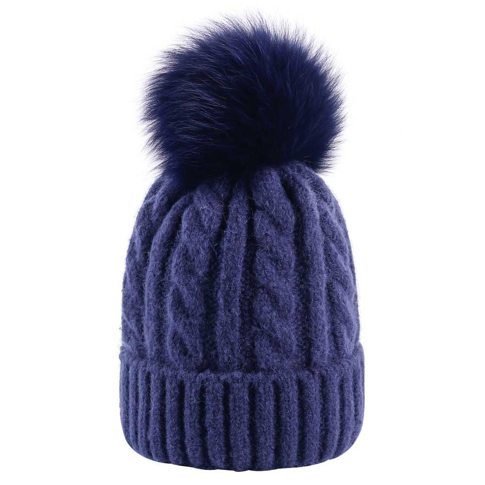 2018 Women Winter Fox Fur Pom Pom Beanie Hat Female Twist Crochet ... a2941b0139
