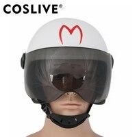 Coslive Скорость гонщик белый полный голову шлем белый мягкий смолы Fullhead маска шлем Хэллоуин Косплэй Костюм Опора гонщик шлем