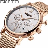 GIMTO Brand Sport Quartz Watch Gold Luxury Clock Stianless Steel Chronograph Military Male Watches Waterproof Relogio