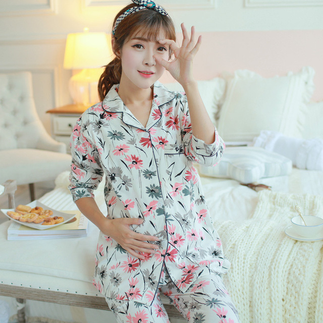 Maternity Sleepwear Suit Breastfeeding Clothes Pajamas Nursing Tops+pants for Pregnant Women Maternity Clothing Nursing B359