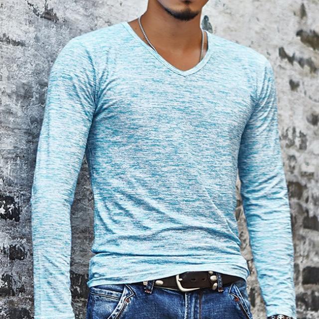 2018 NEW Trendy Summer Men T Shirt Casual Long Sleeve Slim Men's Basic Tops Tees Stretch T-shirt Mens Clothing Chemise Homme 3