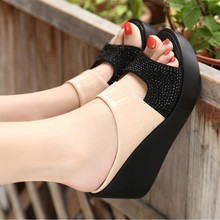 все цены на 2019 Fashion Women's Wedges Fashion Slip-on Women Leisure Shoes Platform Wedges Fish Mouth Sandals Thick Bottom Slipper Dropship онлайн