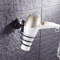 Aceite frotó el bronce Retro estante de la secadora de pelo, estilo europeo antiguo baño estante de la secadora de pelo, inodoro o habitación secador de Pelo estante negro