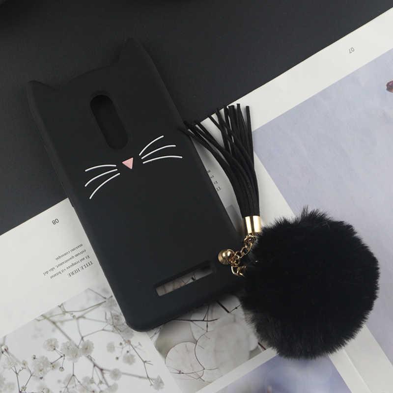 Mignon étui en silicone de dessin animé 3D pour Xiaomi Redmi Note 3 cas Pro japon paillettes barbe chat belles oreilles Kitty téléphone couverture
