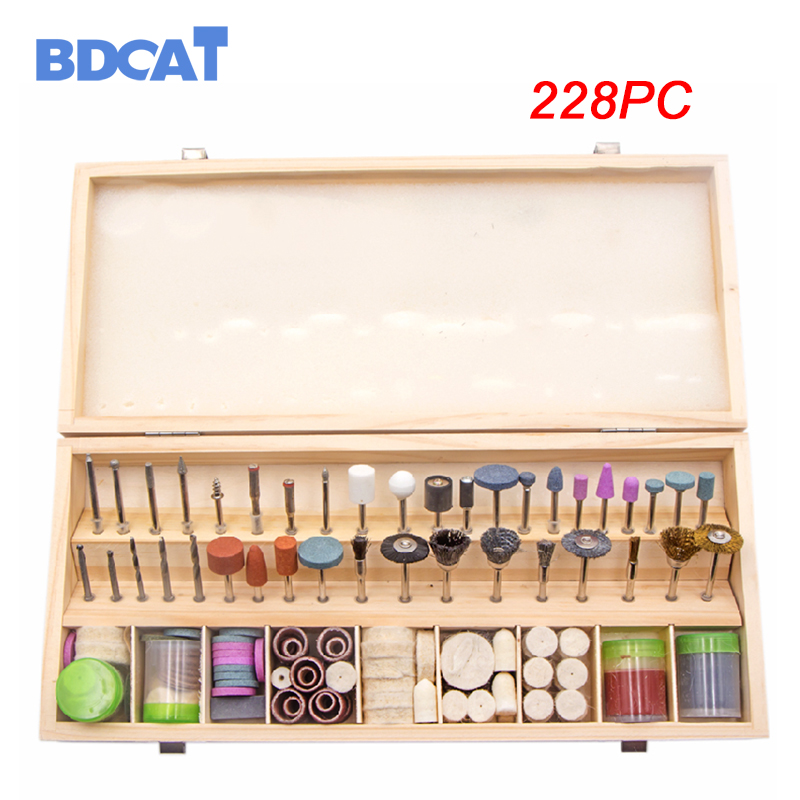 BDCAT228PCS Rotary Tool Accessories for Easy Cutting Grinding Sanding Carving and Polishing Tool Combination For Dremel