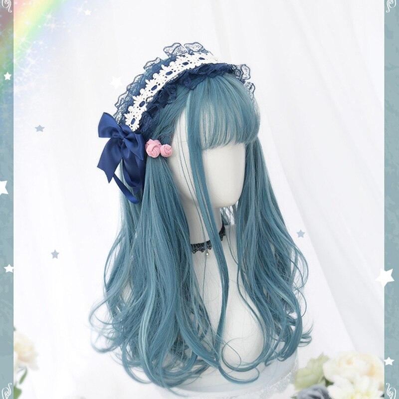 Красивые длинные кудрявые женские волосы Косплей парик синтетический парик Лолита каваи синие волосы женские модные девушки Лолита парик милый уникальный - Цвет: Wig Only