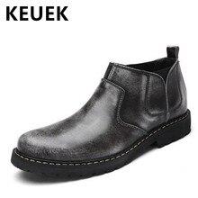 Nueva Llegada Del Otoño Del Resorte de Los Hombres botines de cuero Genuino de La Vendimia botas de Cuero Masculinos Zapatos de Moda Casual 03