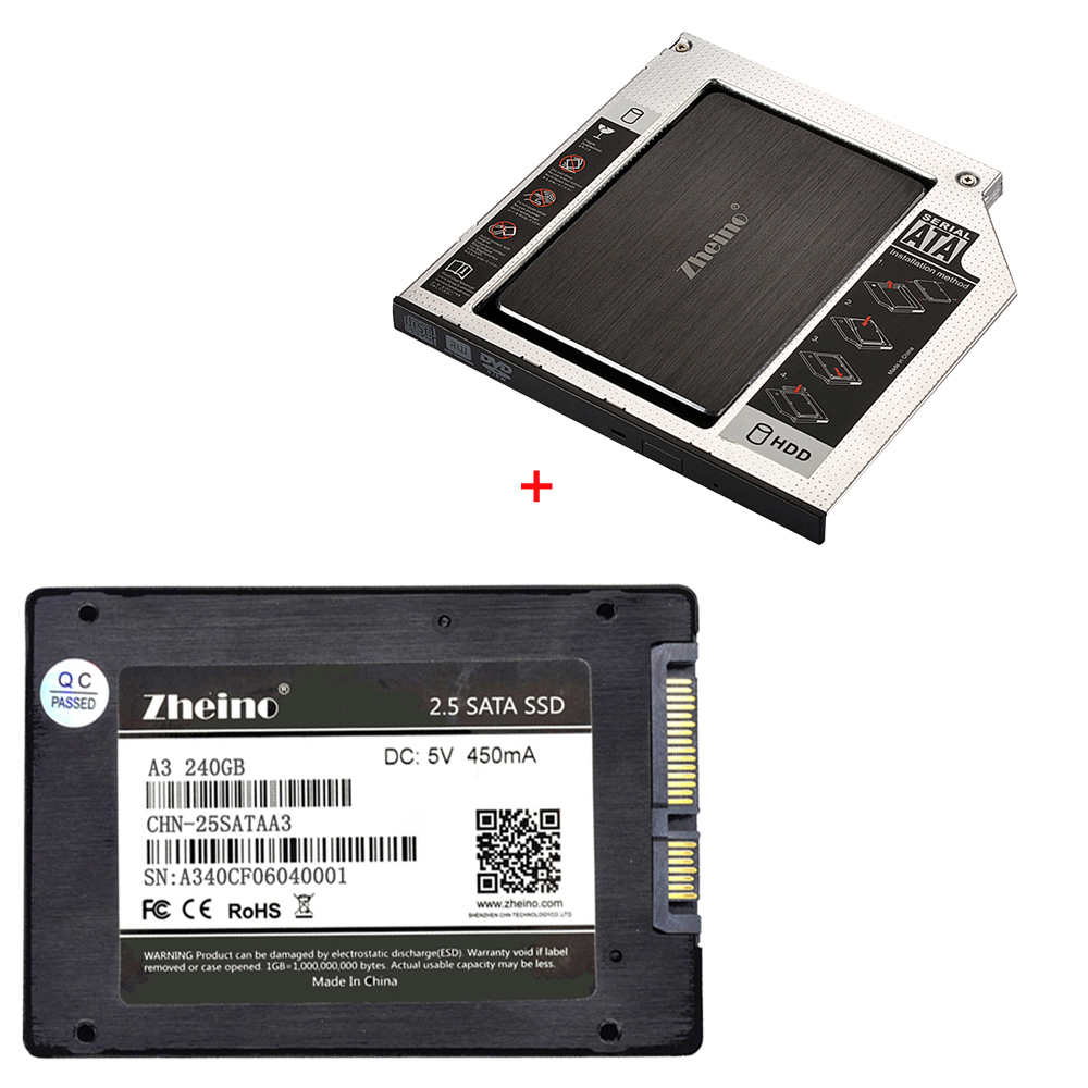 Zheino SATAIII 240GB SSD with Aluminum 12.7mm Caddy Laptop Sata SSD HDD Frame Caddy Adapter Bay CD/DVD-ROM Optical For laptop