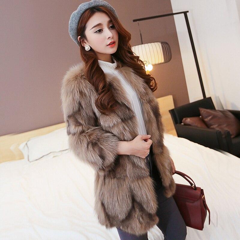 Mode Réel de Fourrure De Renard Manteau Femmes fliffu Naturel Fourrure Veste Femmes Moyen long rf0200