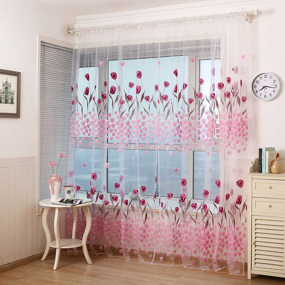 Flower Printed 1 Panel Peony Sheer Curtain Tulle Window Treatments Voile Drape Valance For Living Room Modern Window Curtain