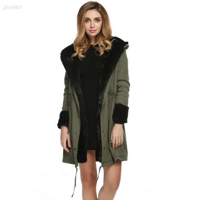 3f690a0be US $40.52 |Luxury Women Faux Fur Coat Casual Hood Parka Ladies Long Trench  Jacket Outwear Winter Jacket Knee Length Front Pockets S~XXL-in Faux Fur ...