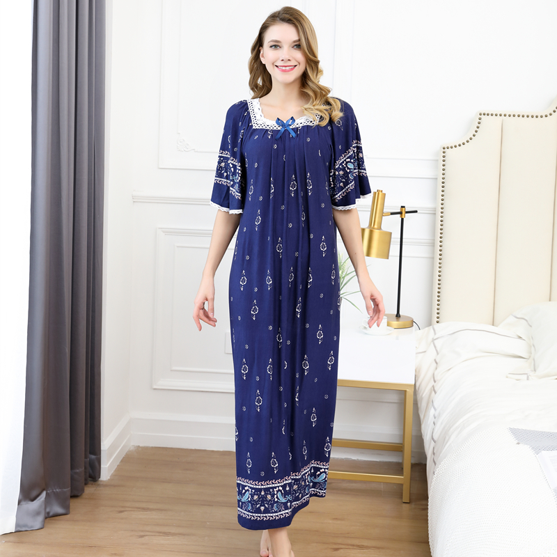 Summer women Sexy Modal cotton Pamjamas Sleepwear Night Dress Lace Long nightgowns skirts sleepwear plus size night dress 100kg 3