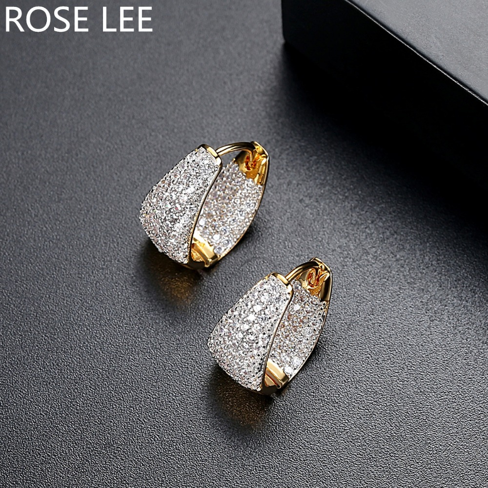 59f5fb16f Detail Feedback Questions about ROSE LEE Vogue Gold Color Clear Hoop  Earrings Paved Micro AAA Cubic Zircon Stones Korean Grace Fashion Jewelry  for Women ...