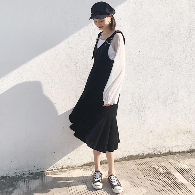 Sispell Velvet Strap Dresses For Women Female Solid Jean Sleeveless Dress Autumn Black Tide Clothes Korean Fashion Clothing New In From S