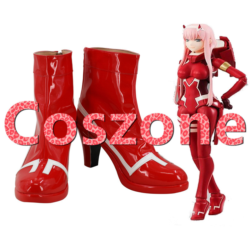 Darling In The Franxx Zero Two Code 002 Red High Heel Cosplay Shoes Boots Halloween Cosplay Costume Accessories