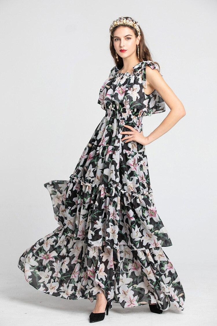 Europe style femmes marque nouveau design slip robe 2019 été pistes imprimé floral bohème robe Chic maxi robe A627