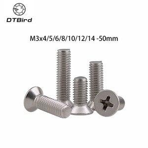 50pcs M3x4/5/6/8/10/12/14 -50mm 304 Stainless Steel Screw Countersunk Head Screws Cross Bolt For Cross Groove Machine GB819